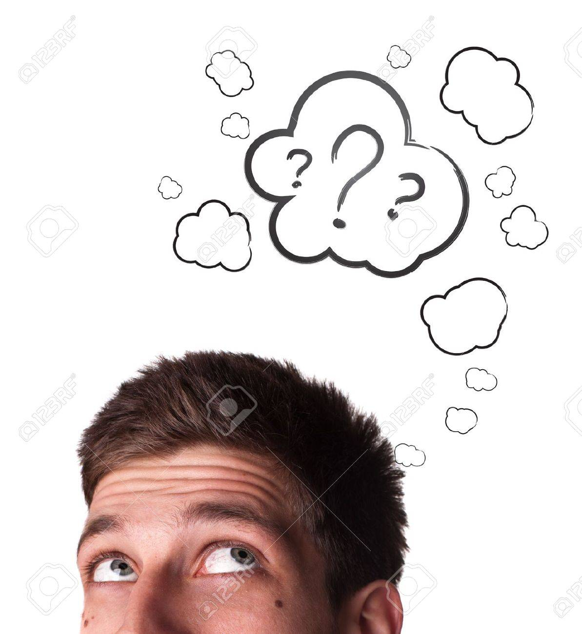 Young white Caucasian male adult has way too many questions in his head Stock Photo - 9289040