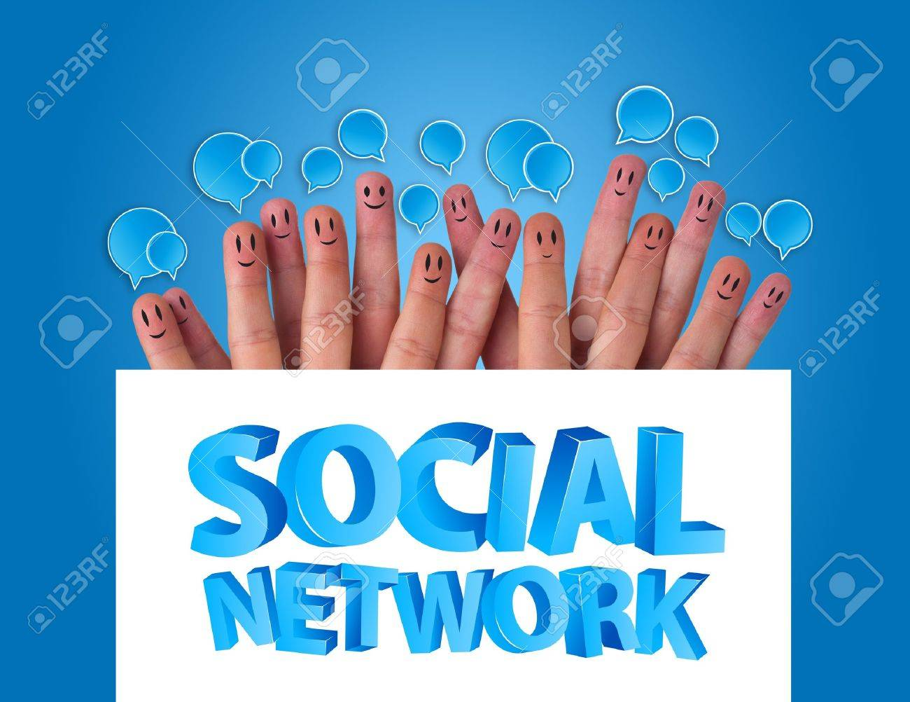 Happy group of finger smileys holding whiteboard with social network sign Stock Photo - 9342254