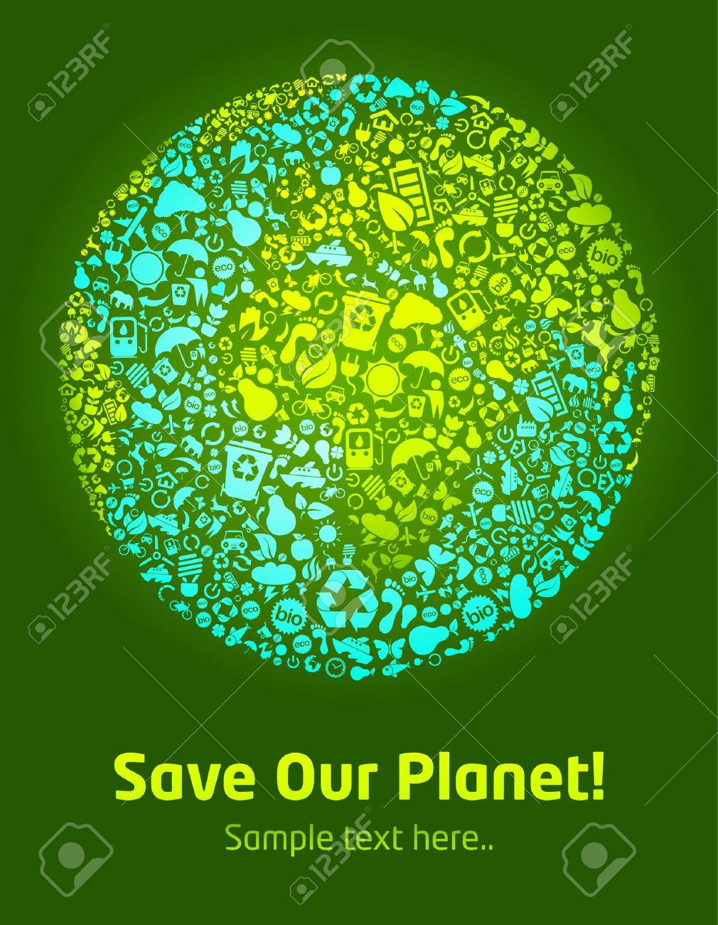 Save our planet green poster template Stock Vector - 9342366