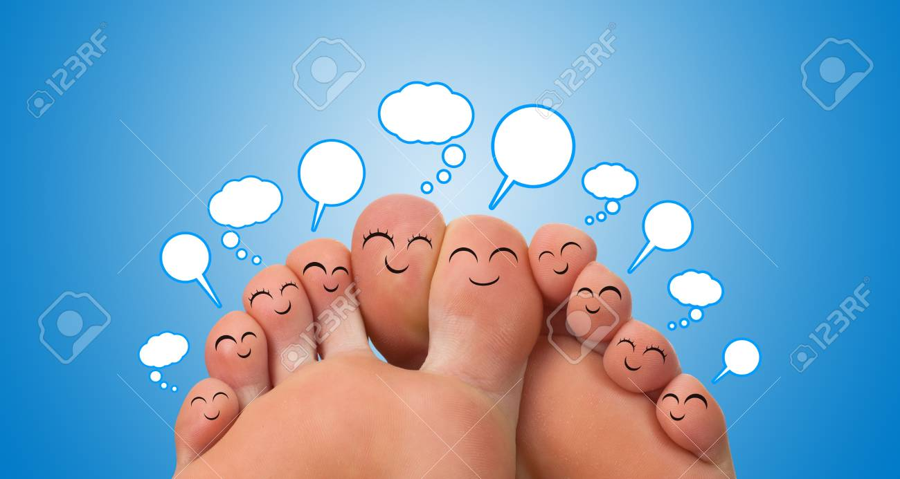 Happy group of finger smileys with speech bubbles Stock Photo - 9342305