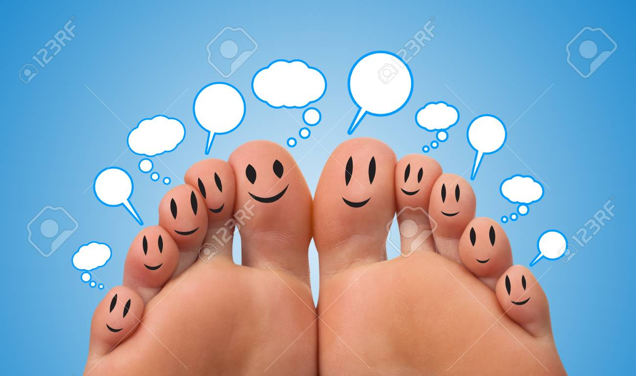 Happy group of finger smileys with speech bubbles Stock Photo - 9361911