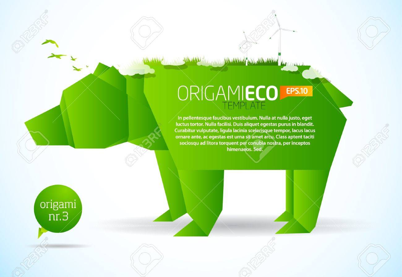 Eco Friendly Green Origami Template Bear Royalty Free Cliparts Diagram Stock Vector 9498663