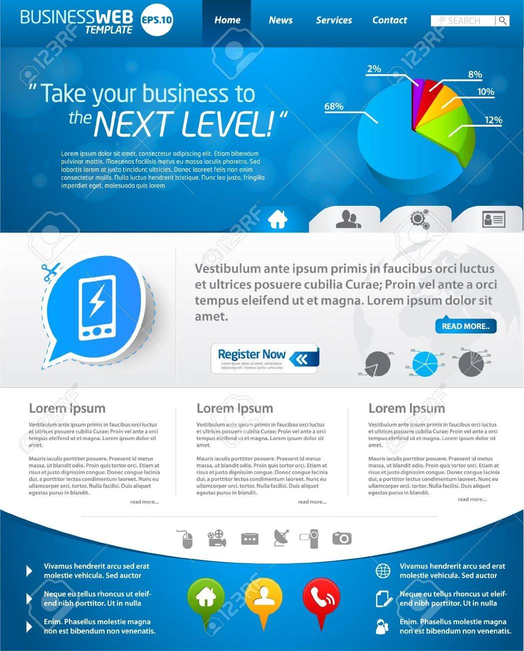 52c5bc4a6a539 Diseño De Plantilla Web De Negocios Azul Ilustraciones Vectoriales ...