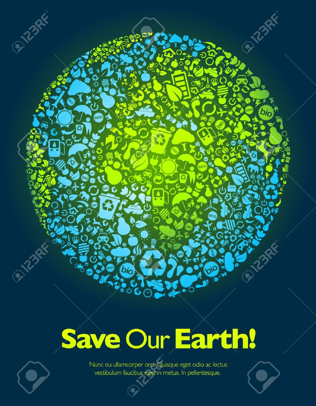 Poster design on save earth - Save Our Earth Blue And Green Poster Template Stock Vector 9498672