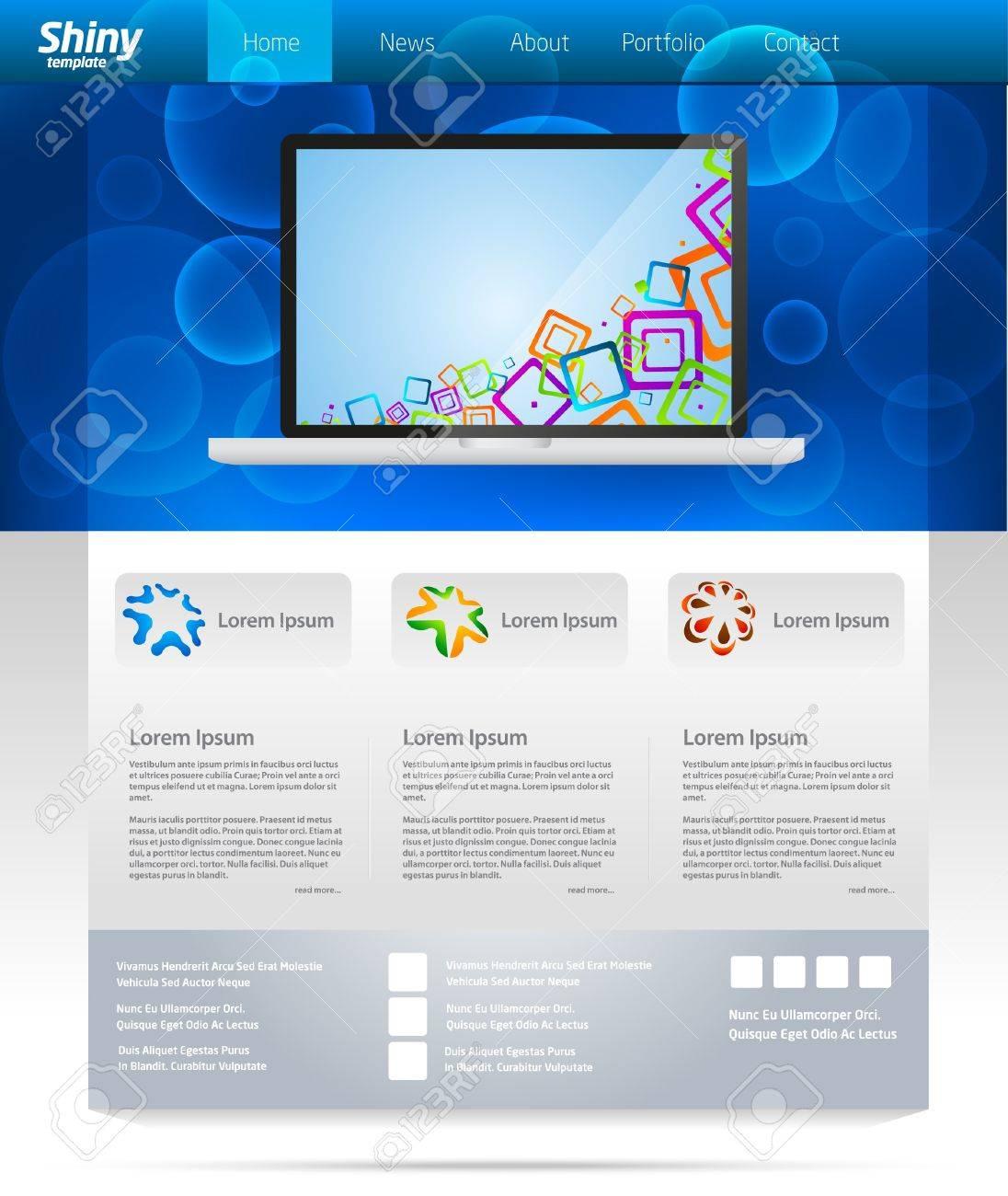 344ed0878f2da Diseño de plantilla web de negocios azul con el control deslizante de  portátil Foto de archivo