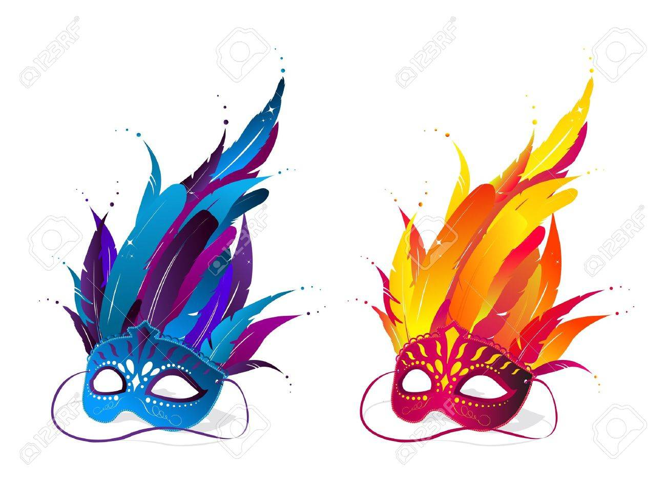 Colorful party masks in blue and red color Stock Vector - 9611731