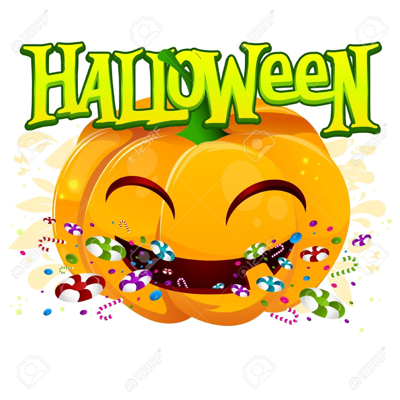 Cute Pumpkin With Halloween Sign And Candys Royalty Free Cliparts ...