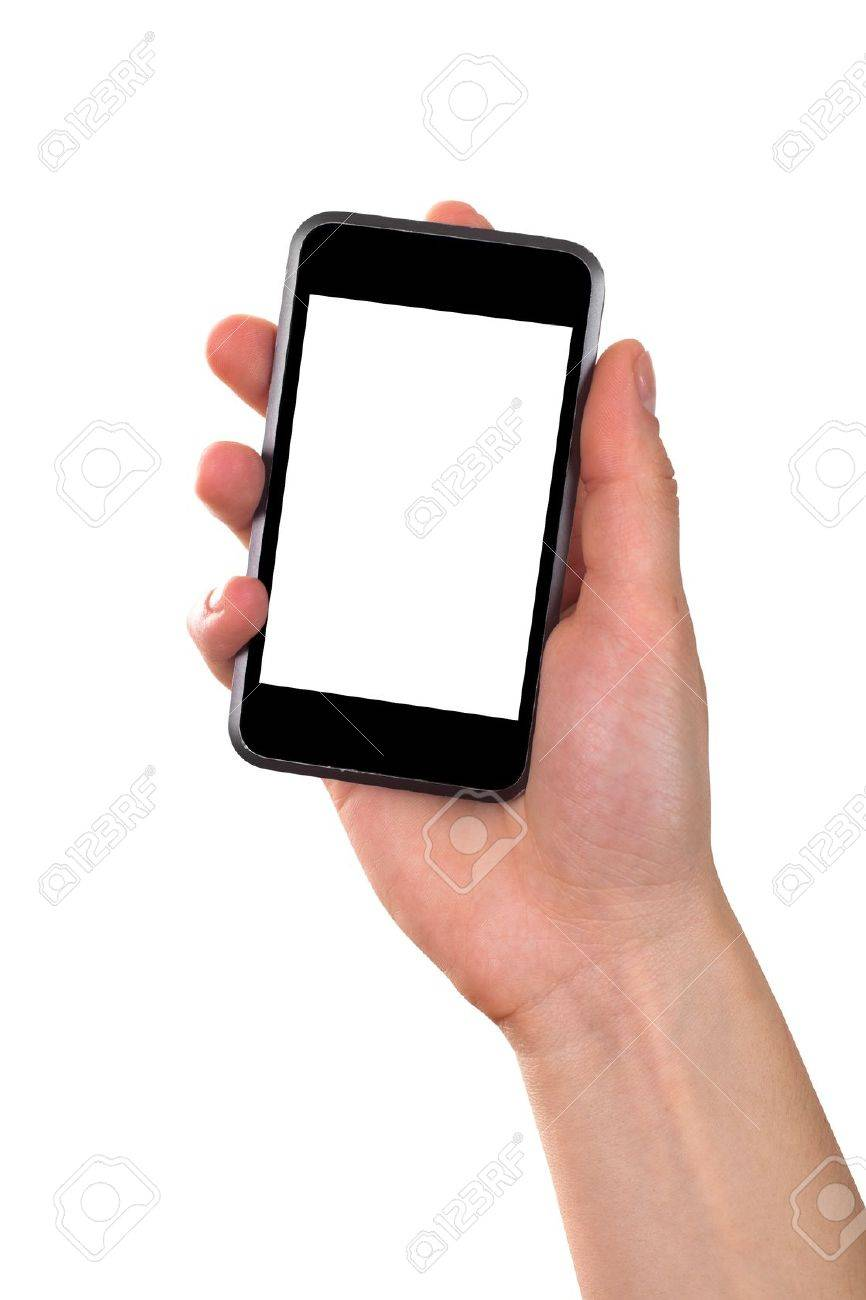 women hand holding mobile phone isolated on white background Stock Photo - 9702956