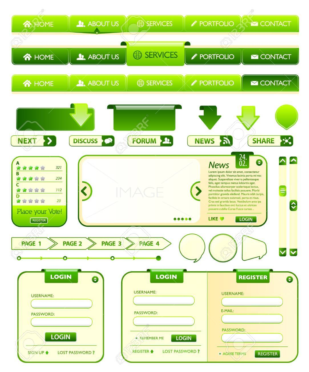 Web elements green collection Stock Vector - 9945944