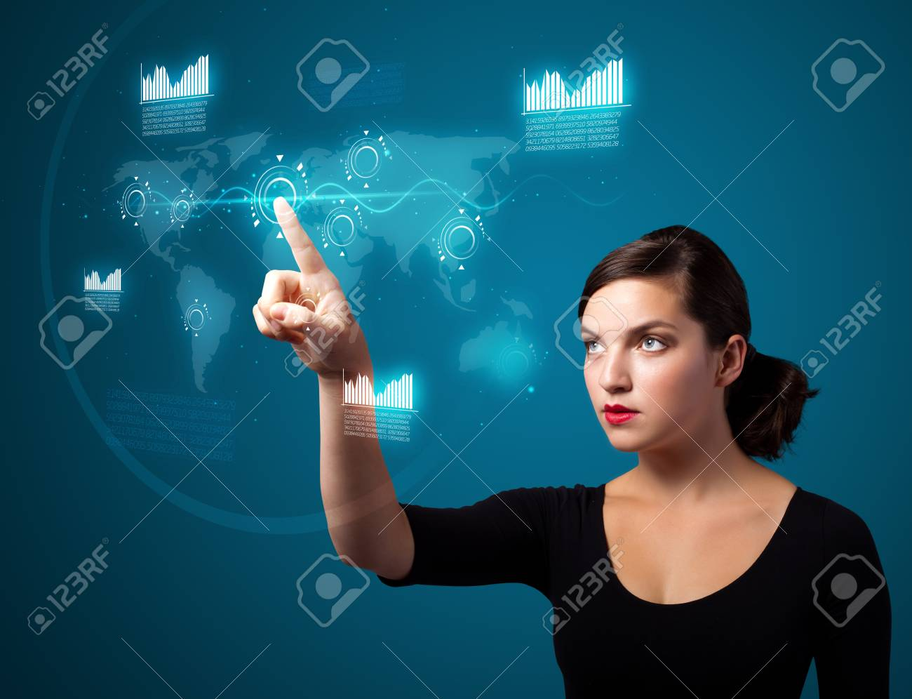 Businesswoman pressing high tech type of modern buttons on a virtual background Stock Photo - 10687966