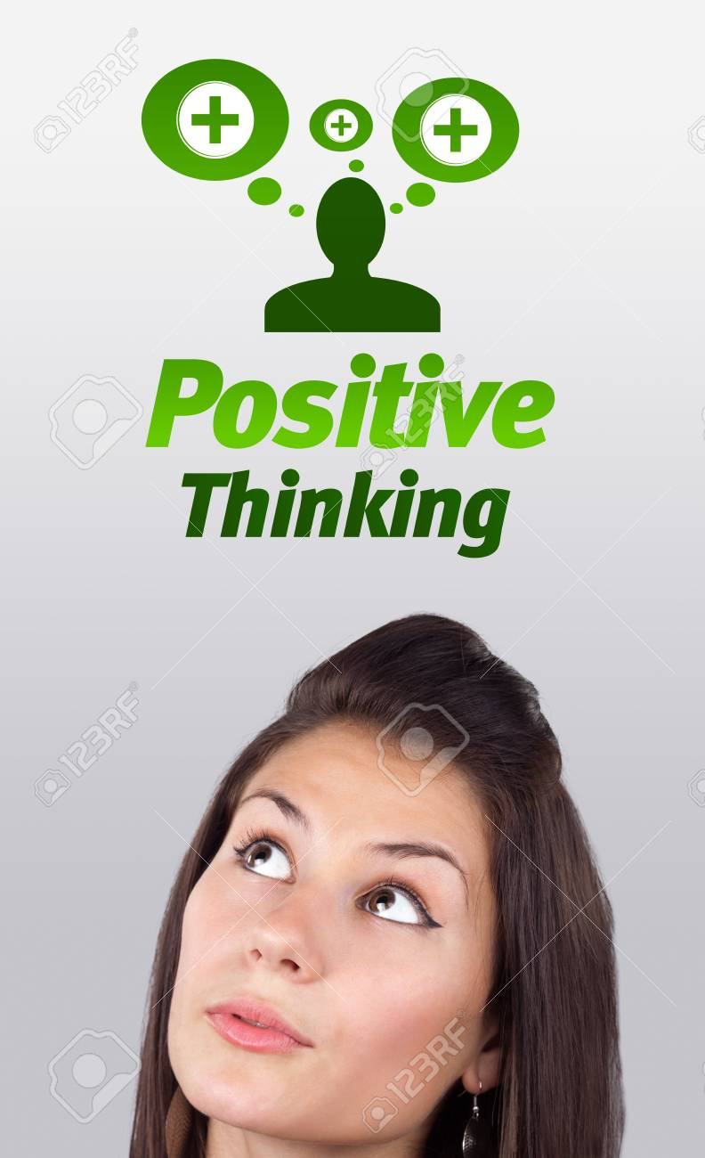 Young girl head looking with gesture at positive negative signs Stock Photo - 10687825