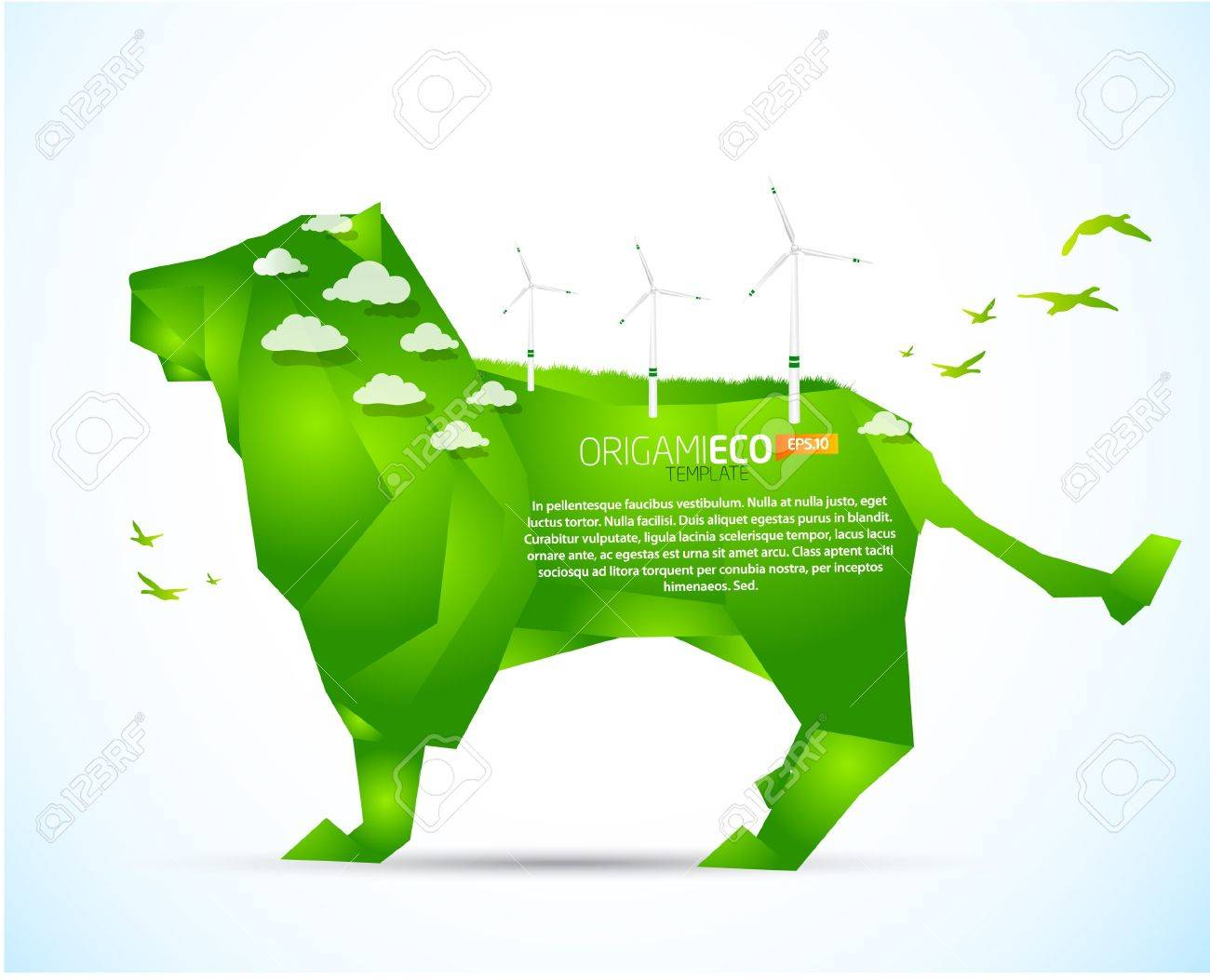 Eco Friendly Green Origami Lion Template Stock Vector