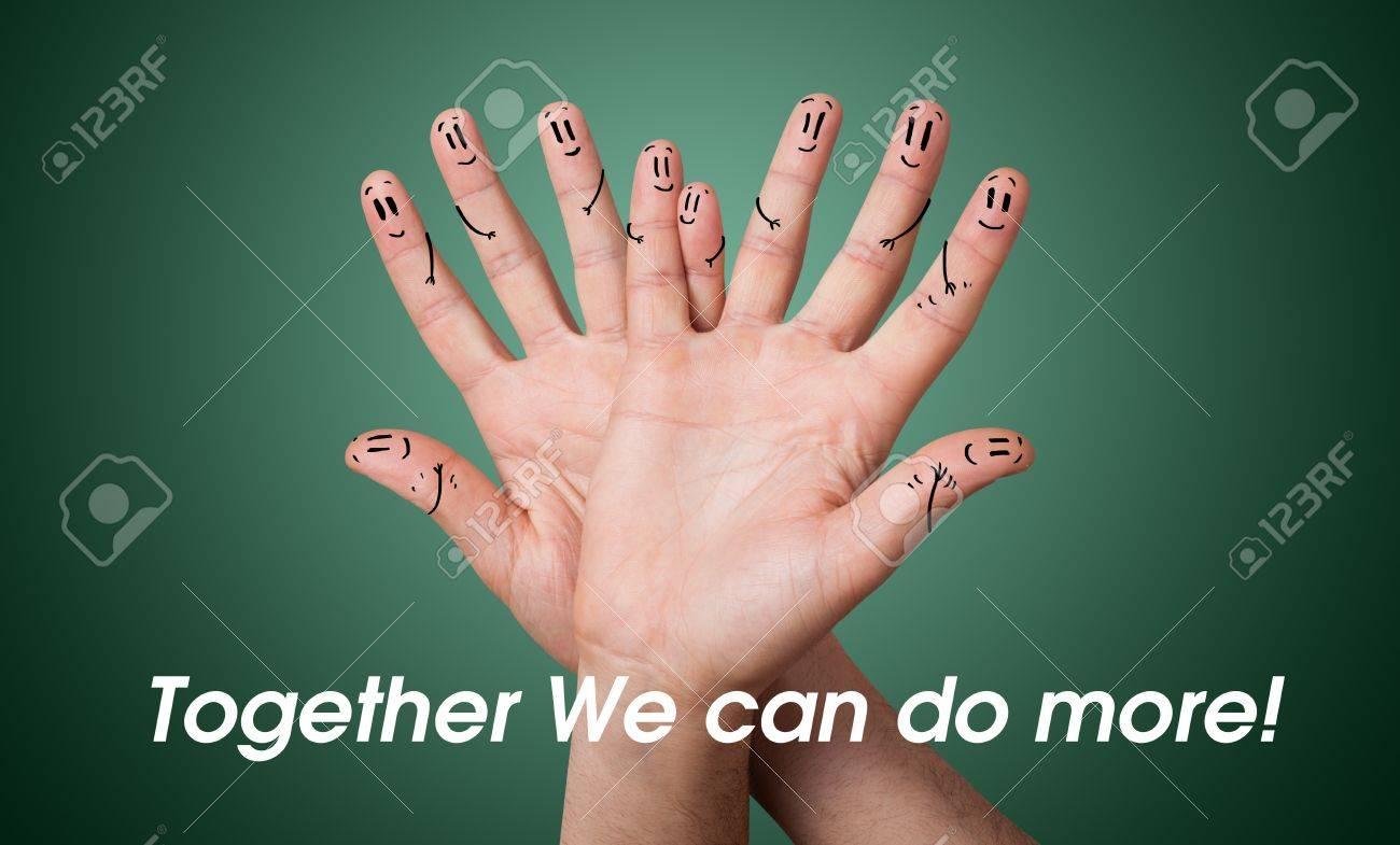 Happy group of finger smileys Stock Photo - 11985478