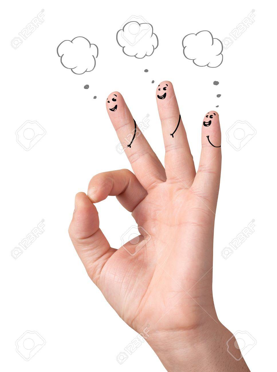 Happy ok fingers with speech bubbles and signs isolated on white Stock Photo - 11985501