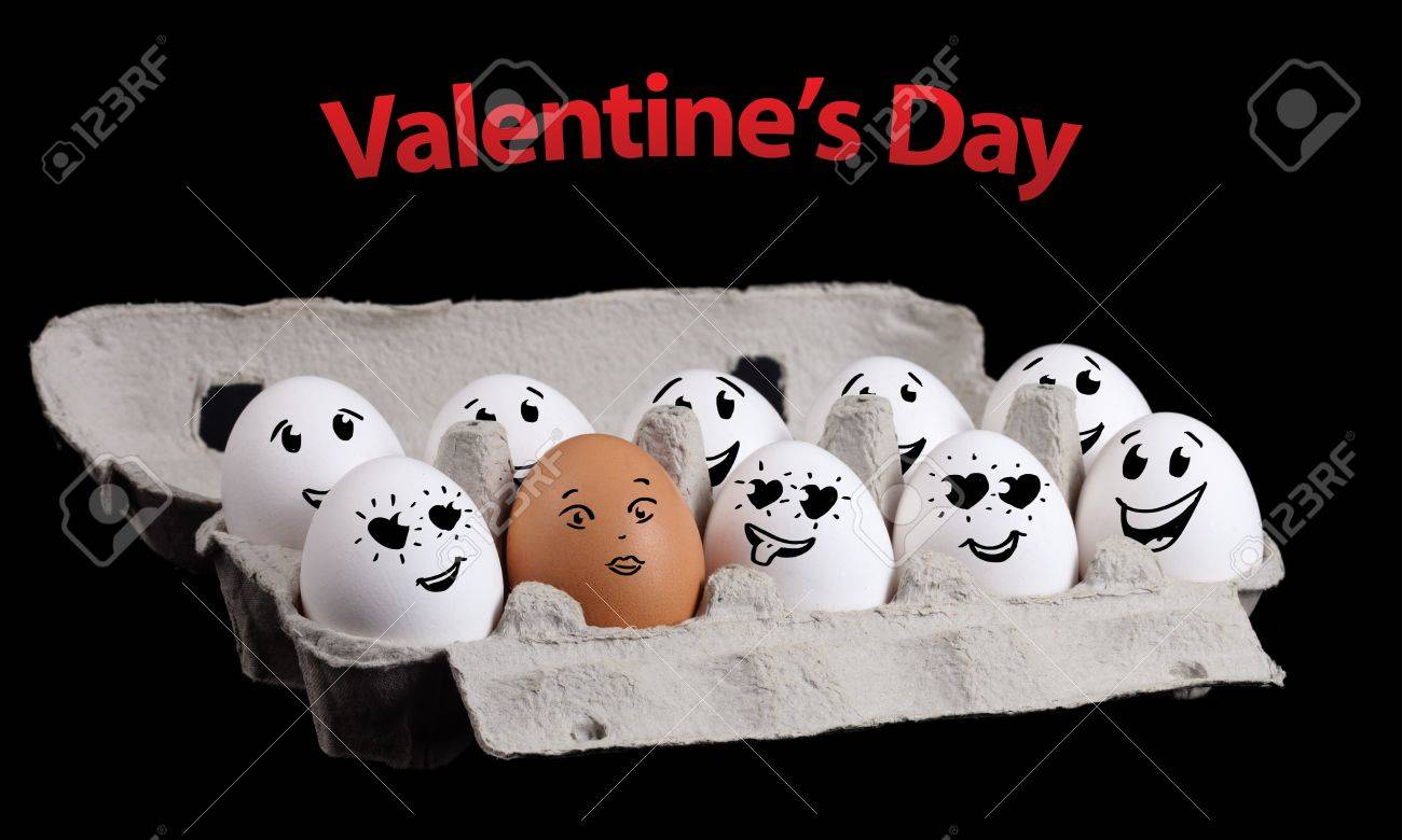 Eggs with happy smiley faces on valentines day theme Stock Photo - 11985401