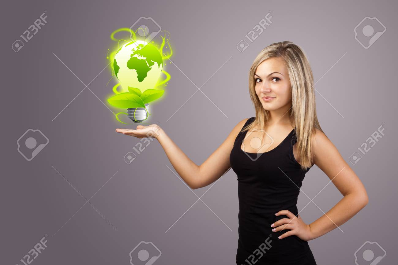 Young woman holding virtual eco sign Stock Photo - 12091129