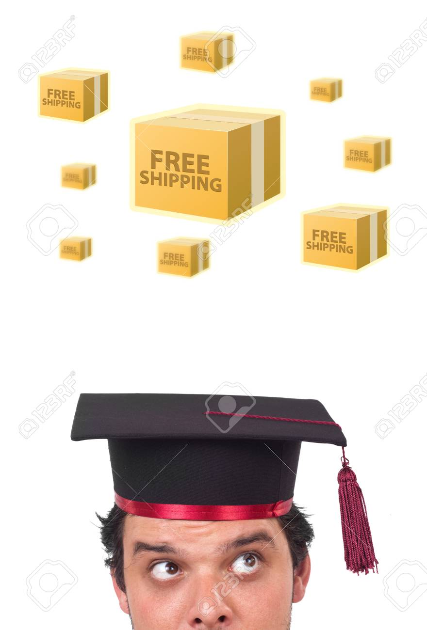 Young persons head looking with gesture at shipping and order signs Stock Photo - 12090891