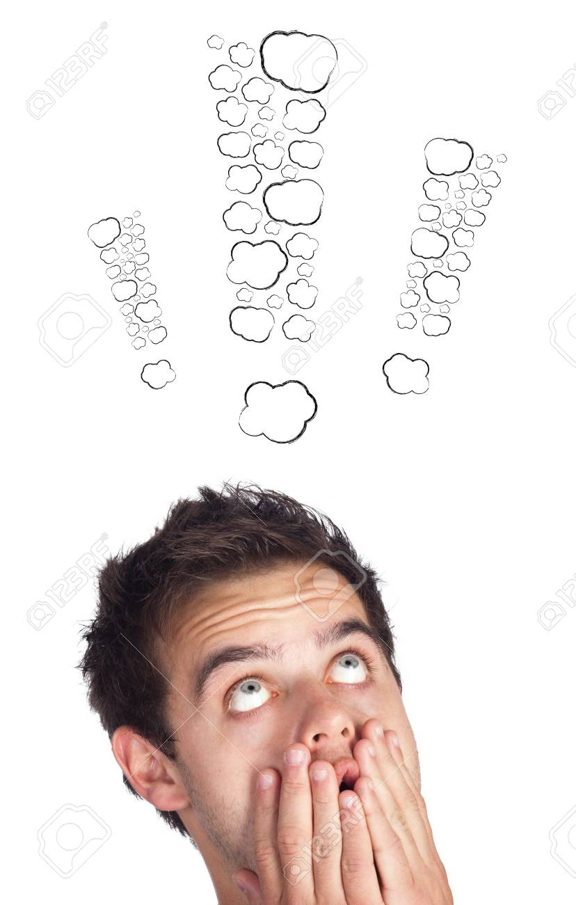 Young persons head looking with gesture at writing marks Stock Photo - 16028400