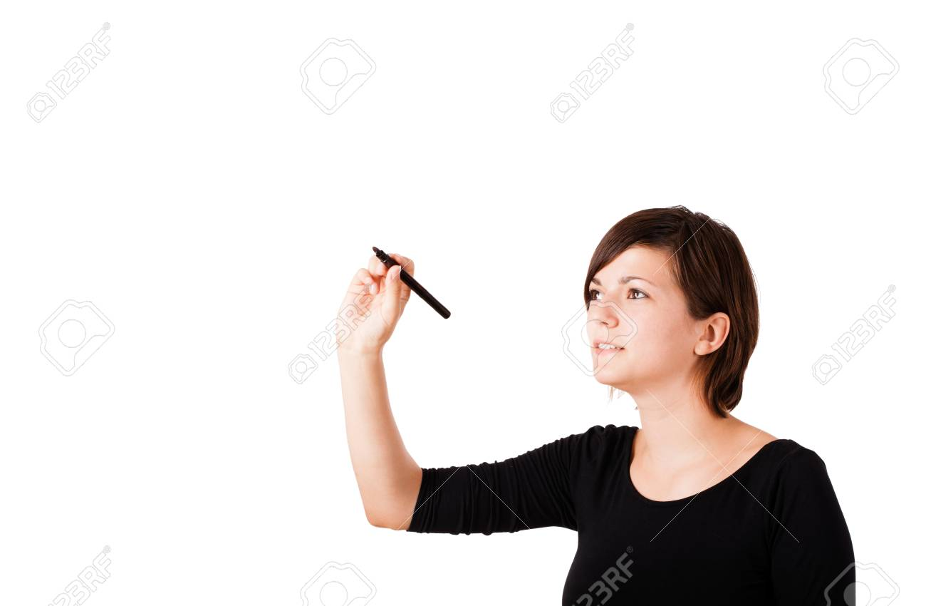 Young woman drawing on wihteboard with white copyspace isolated on white Stock Photo - 16245457