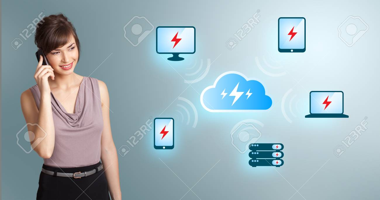 Beautiful young woman making phone call, with cloud computing network Stock Photo - 16523880