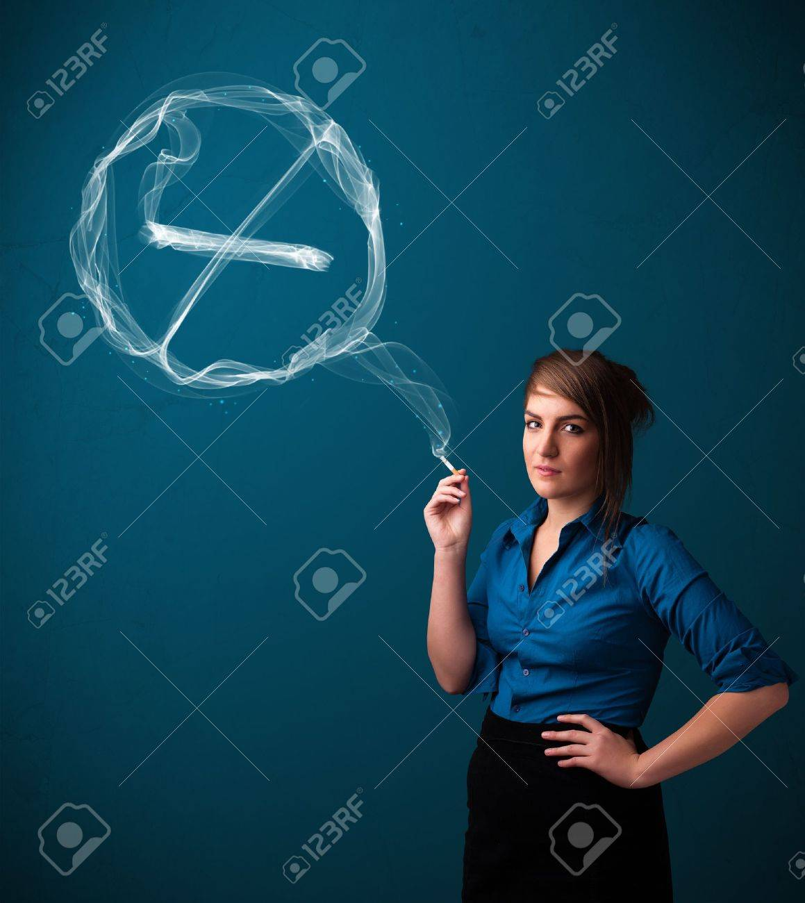 Pretty young lady smoking unheathy cigarette with no smoking sign Stock Photo - 16746828