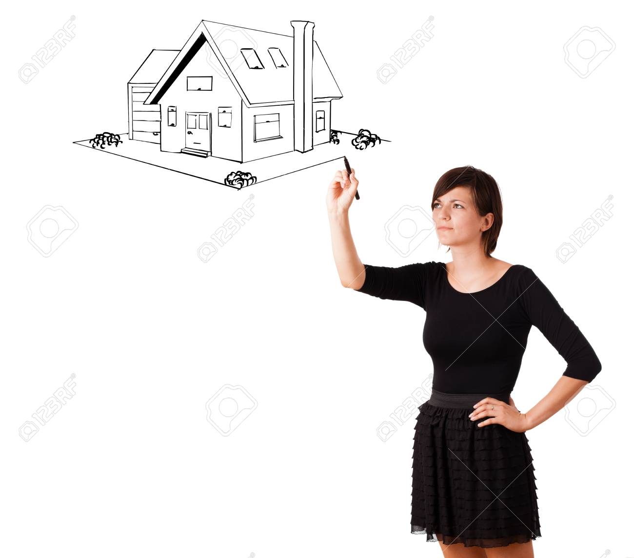 Young woman drawing a house on whiteboard isolated on white Stock Photo - 16750169