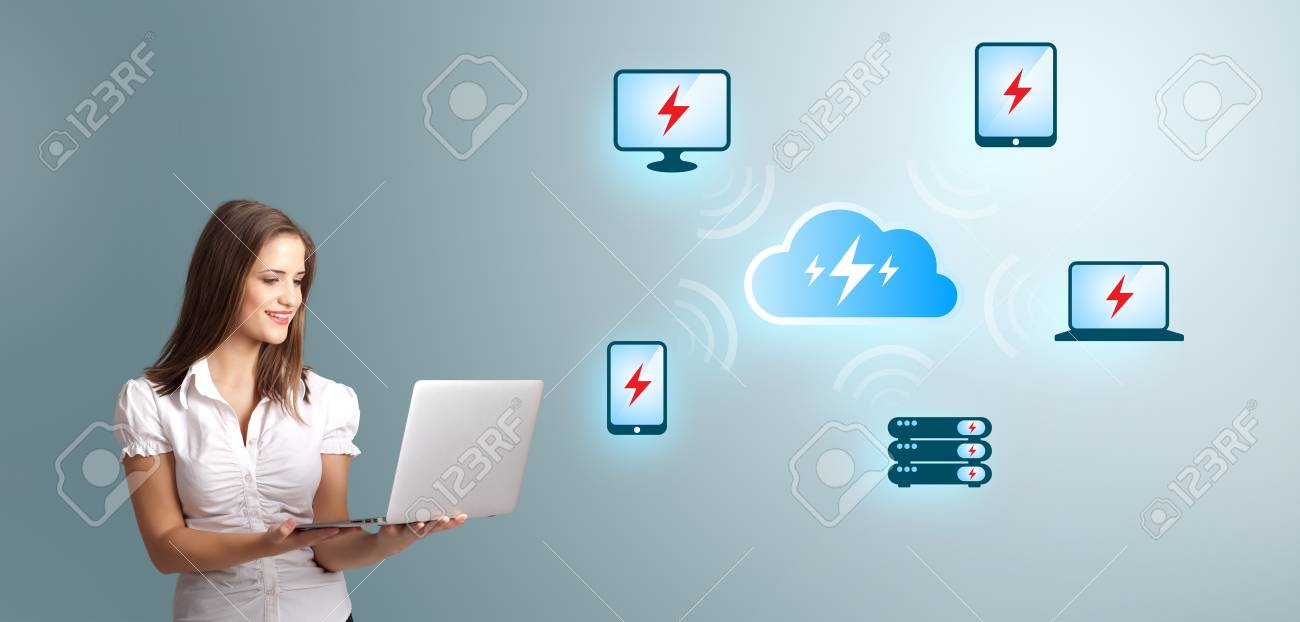 Beautiful young woman holding a laptop and presenting cloud computing network Stock Photo - 17455575