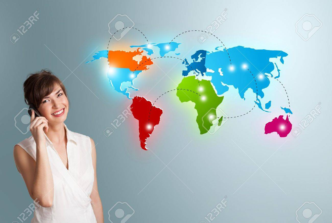 Beautiful young woman making phone call with colorful world map Stock Photo - 18902127