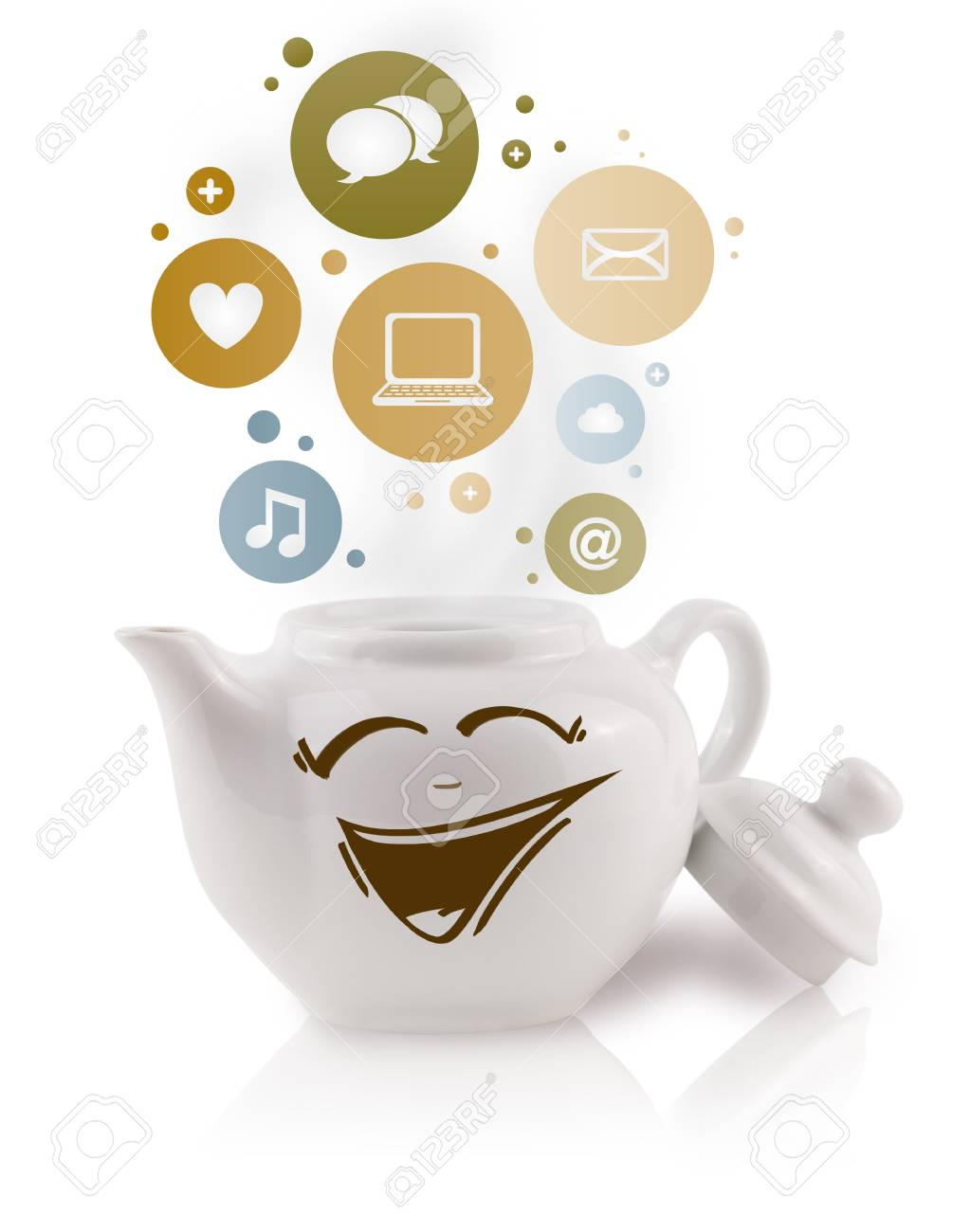 Coffe pot with social and media icons in colorful bubbles, isolated on white Stock Photo - 19664394