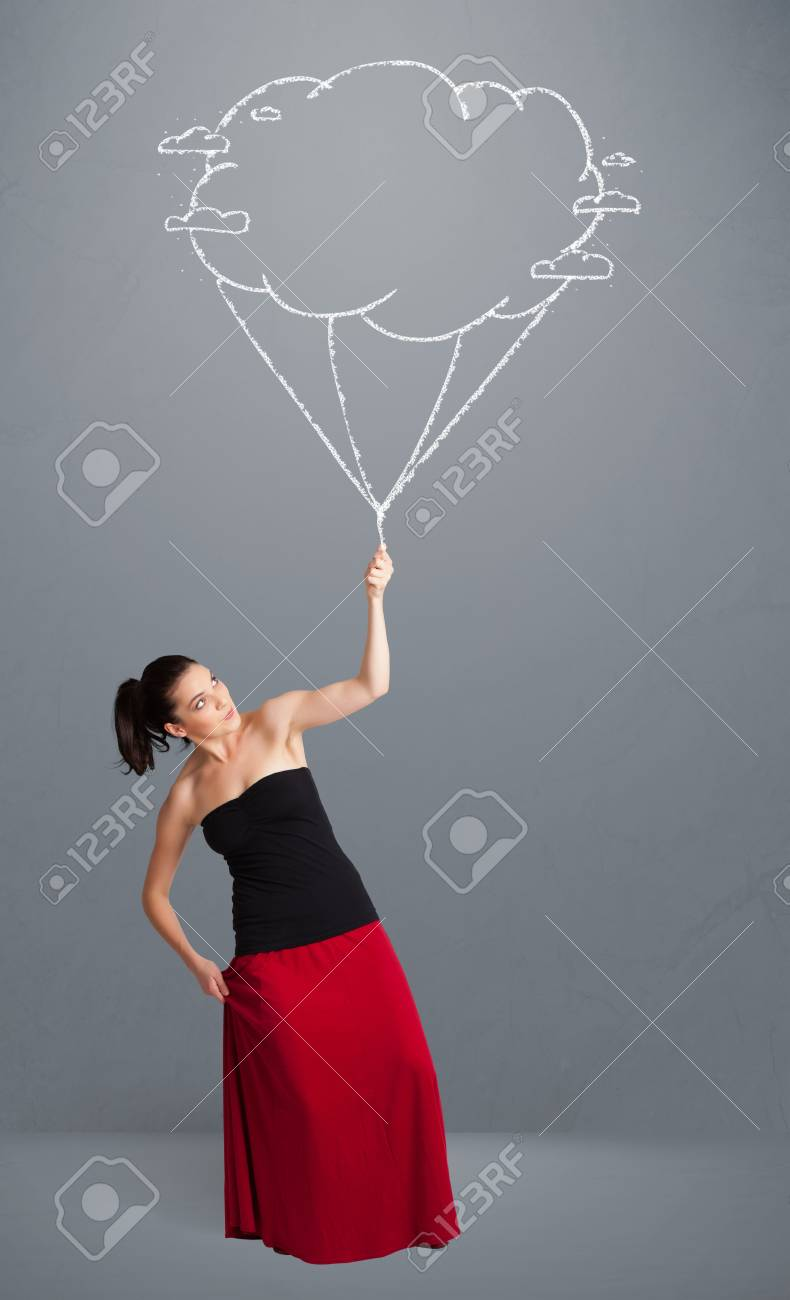 Pretty young lady holding a cloud balloon drawing Stock Photo - 20684948
