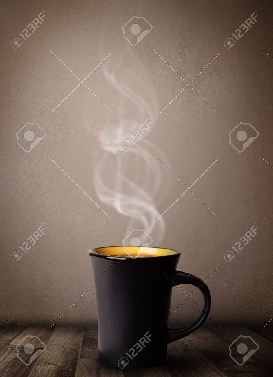 Coffee cup with abstract white steam, close up Stock Photo - 20661025
