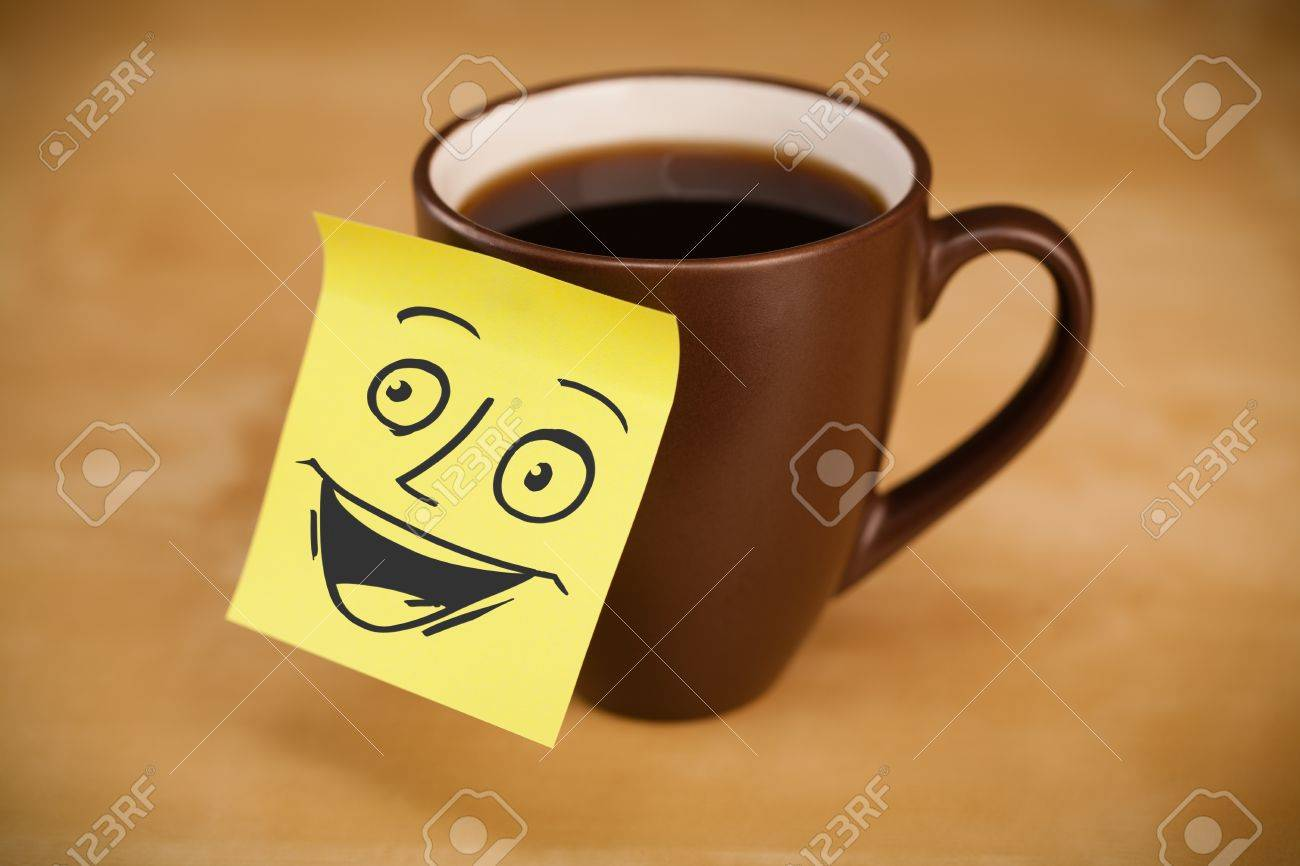 Smiley Face Coffee Mug Drawn Smiley Face On A Post It Note Sticked On A Mug Stock Photo