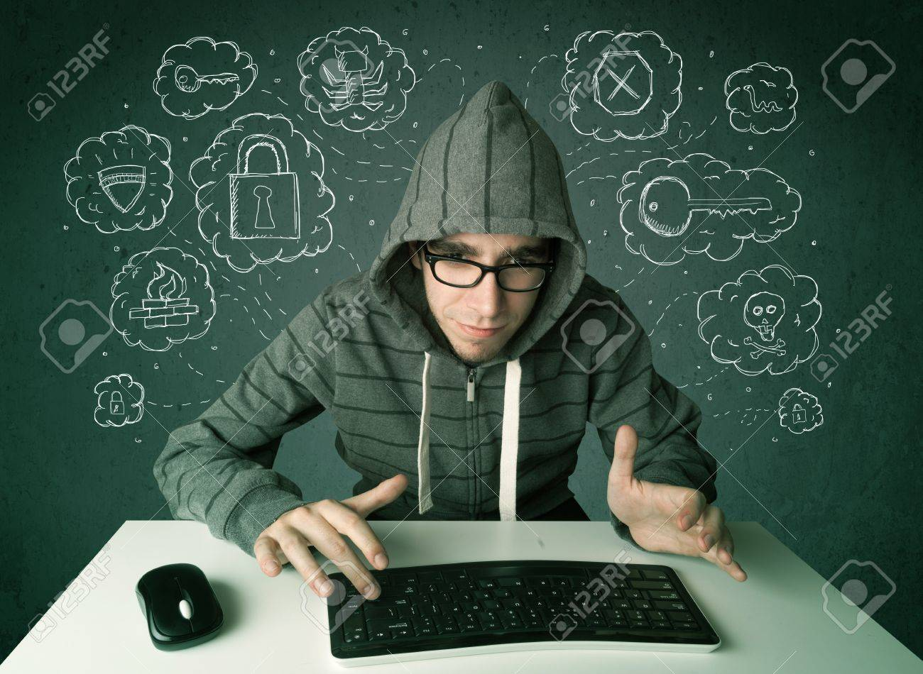 Young nerd hacker with virus and hacking thoughts on green background Stock Photo - 21740126