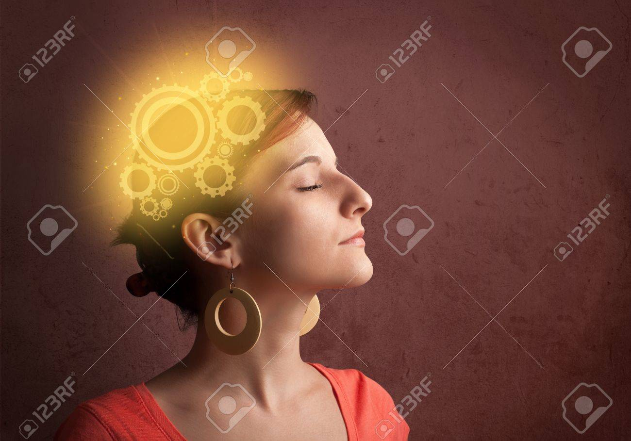Clever girl thinking with a glowing machine head illustration Stock Illustration - 21740322