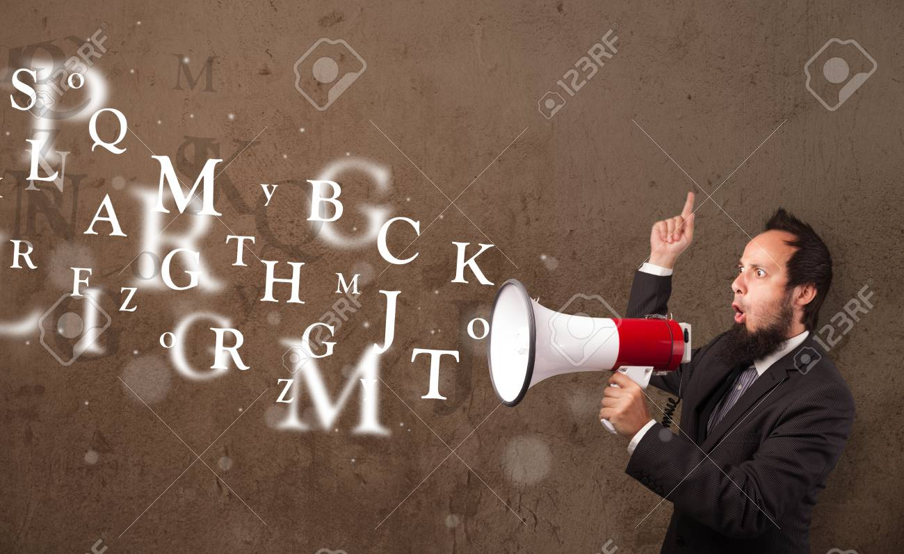 Man in shirt shouting into megaphone and abstract text come out Stock Photo - 21740357