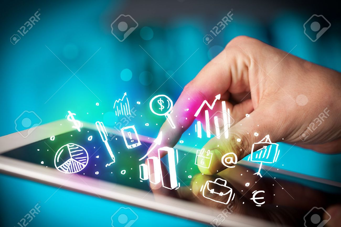 Finger pointing on tablet pc, charts concept Stock Photo - 22041802