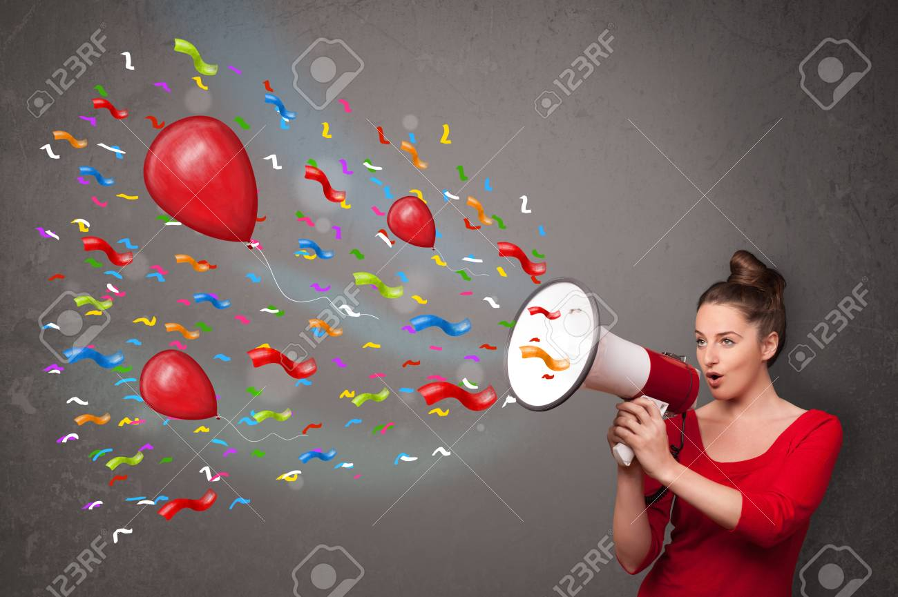 Young girl having fun, shouting into megaphone with balloons and confetti Stock Photo - 22094280