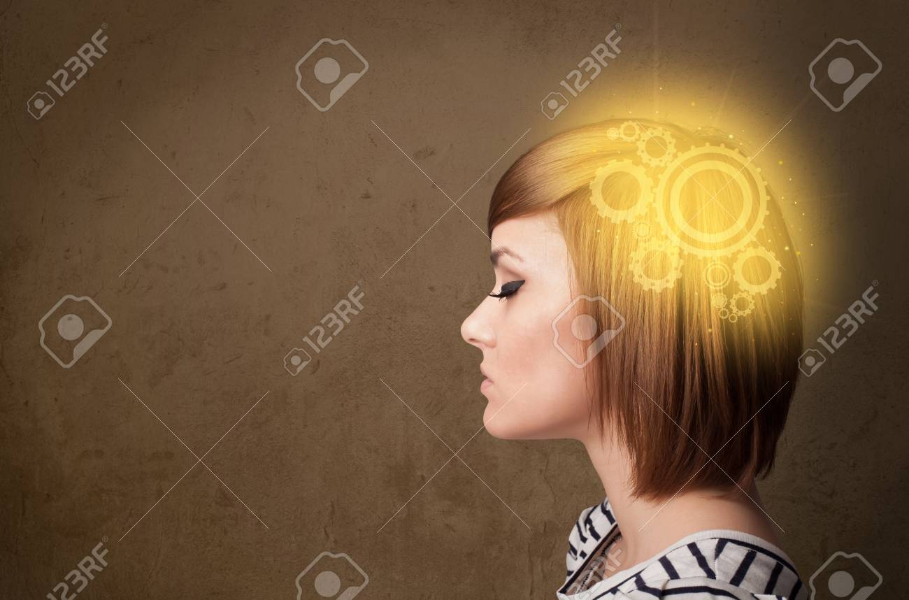 Clever girl thinking with a glowing machine head illustration Stock Photo - 22280785