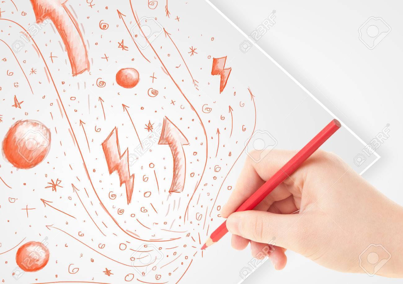 Dibujo a mano dibujos abstractos sobre un papel blanco normal Foto de archivo - 22332223