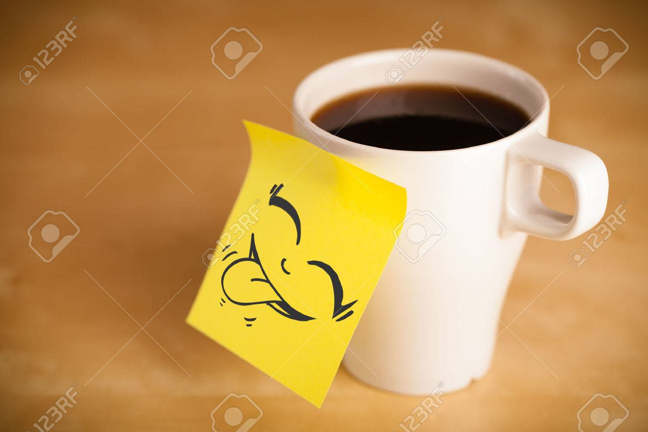 Smiley Face Coffee Mug Drawn Smiley Face On A Post It Note Sticked On A Cup Stock Photo