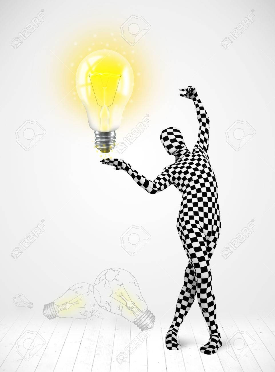 Funny man in full body suit with glowing light bulb, new idea concept Stock Photo - 23160360
