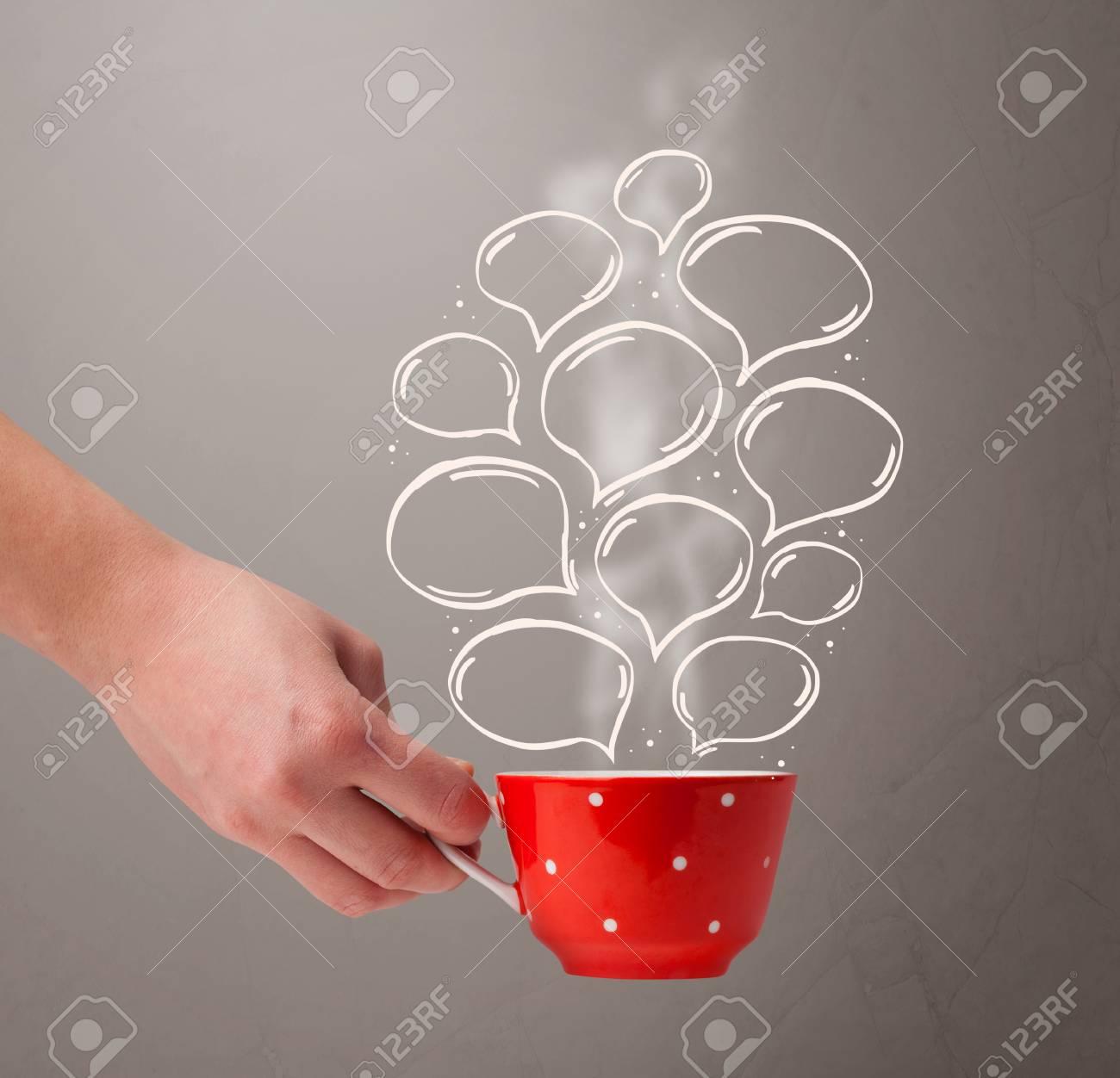 Coffee mug with hand drawn speech bubbles, close up Stock Photo - 24086362
