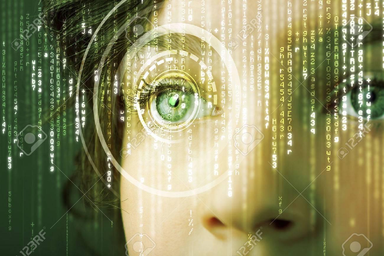 Modern cyber woman with matrix eye concept - 24116901