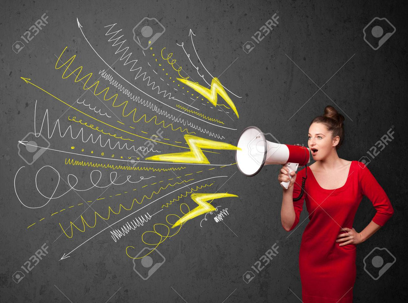 Cute girl shouting into megaphone with hand drawn lines and arrows on grungy background Stock Photo - 24279098