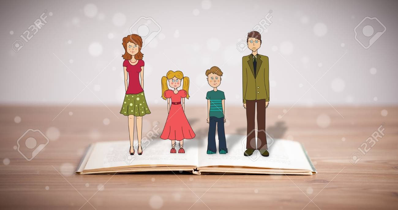 Drawing Of A Happy Family On Opened Book The Symbol Of Unity