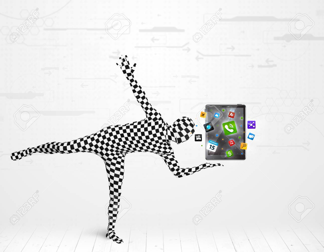Funny man in full body suit holdig tablet pc, new technology concept Stock Photo - 25016020