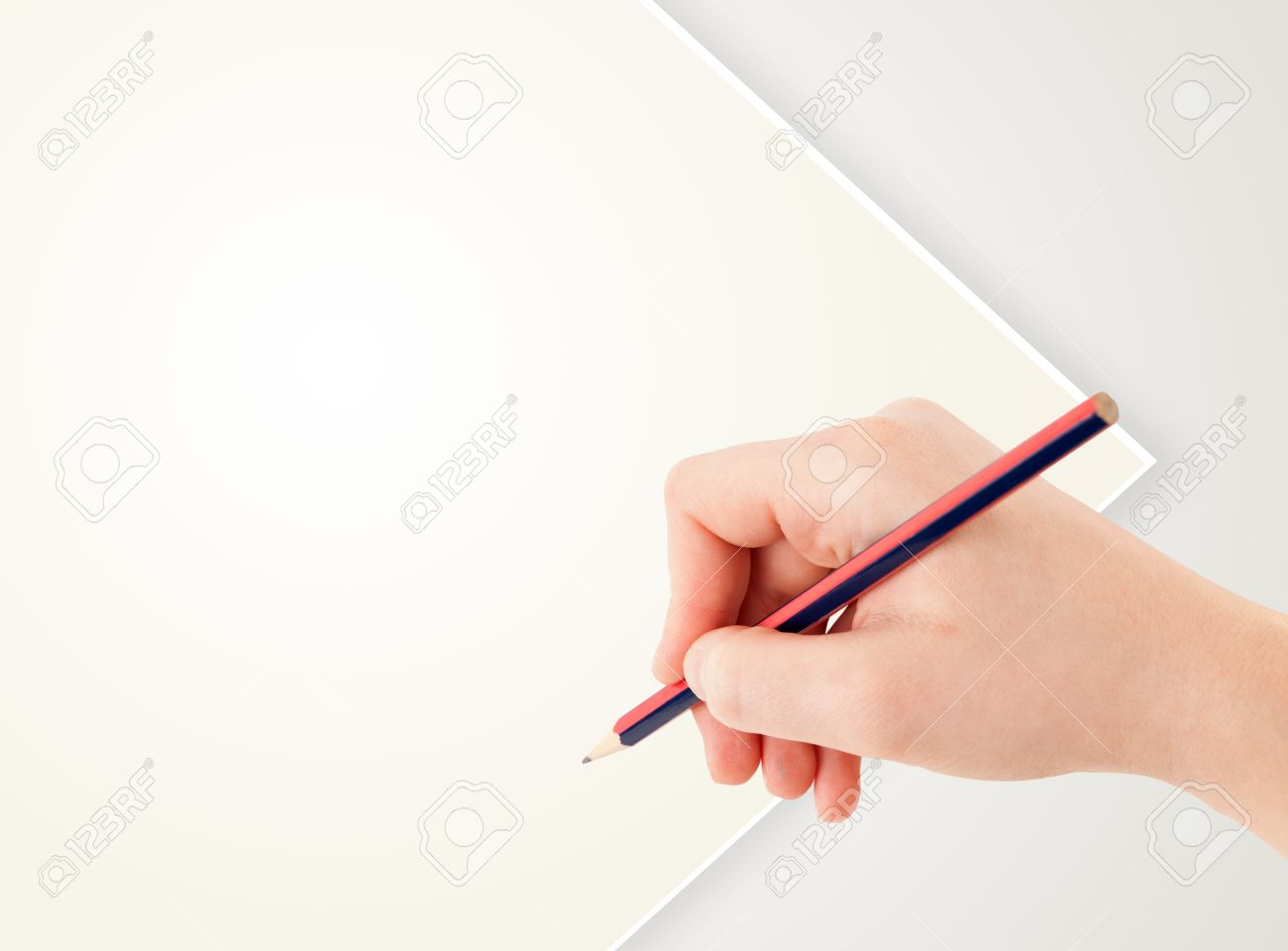 Human Hand Drawing With Pencil On Empty White Paper Template Stock ...