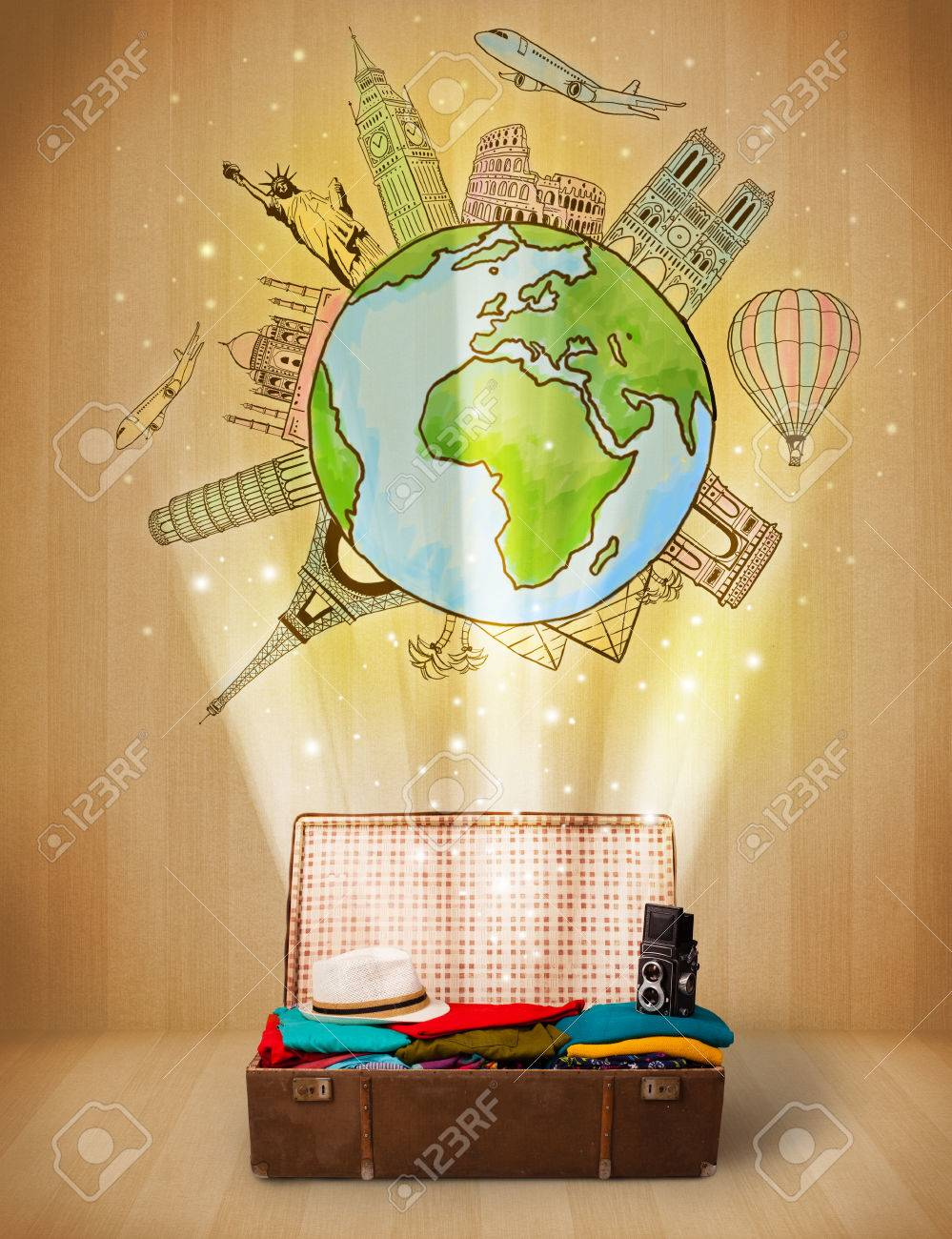 Luggage with travel around the world illustration concept on grungy background Stock Photo - 25133343