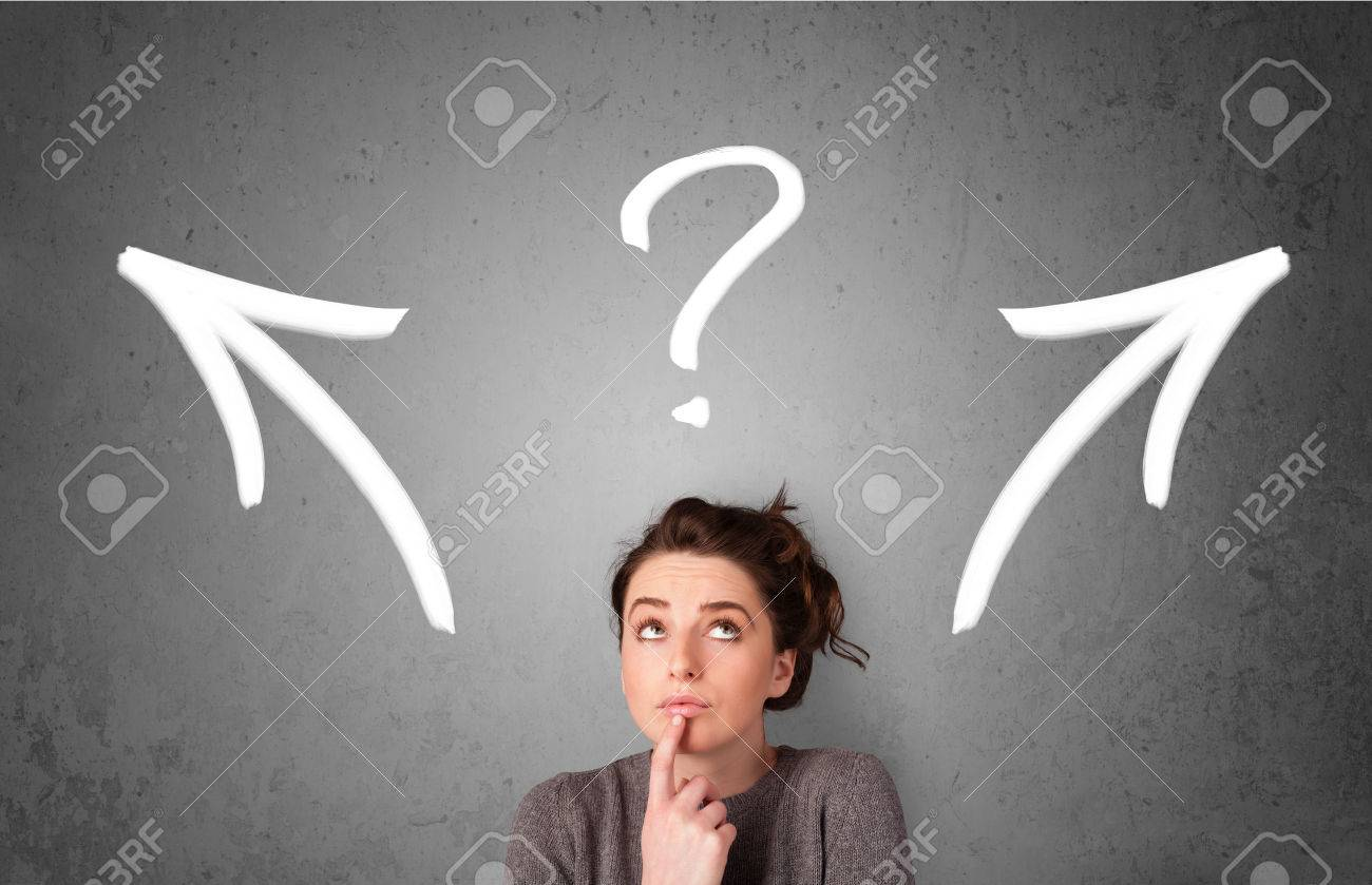 Pretty young woman making a decision with arrows and question mark above her head - 28154385