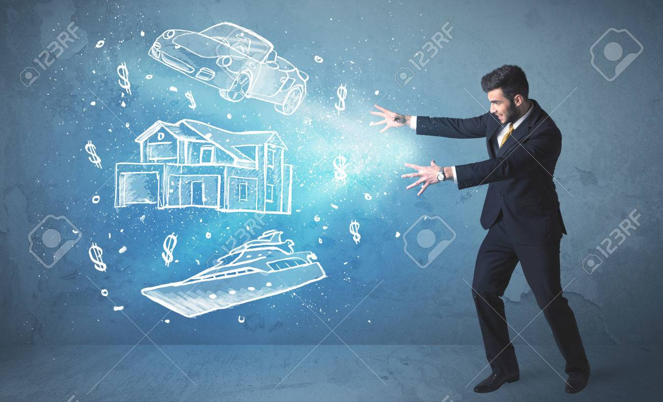 Rich person throwing hand drawn car yacht and house concept - 33793015